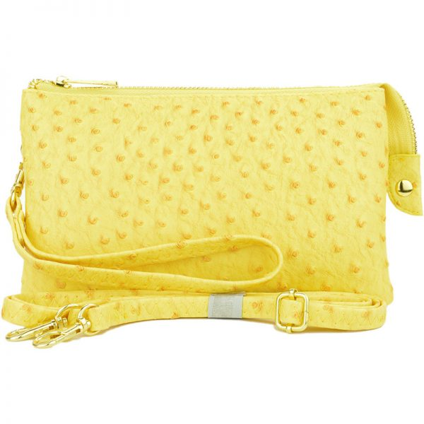 Light Yellow with crossbody strap and wristlet