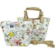 #3Flower/Beige with detachable pouch and cross body strap