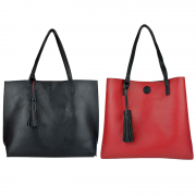 10296 Black-Red Reversible Tote with Tassel