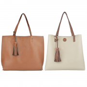 10296 Camel-beige Reversible Tote with Tassel