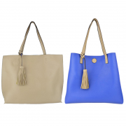 10296 Light Beige-Royal Reversible Tote with Tassel