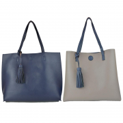 10296 Navy-Khaki Reversible Tote with Tassel