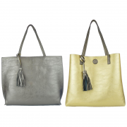 10296 Pewter-Gold Reversible Tote with Tassel