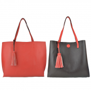 10296 Red Coffee Reversible Tote with Tassel