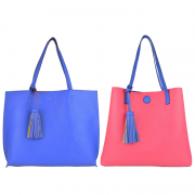 10296 Royal-Hot-pink Reversible Tote with Tassel