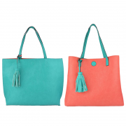 10296 Turquoise-Coral Reversible Tote with Tassel