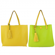 10296 Yellow-Green Reversible Tote with Tassel