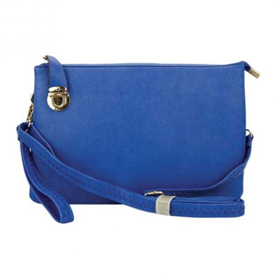 0714-025 Large Crossbody Royal Blue front view with crossbody strap