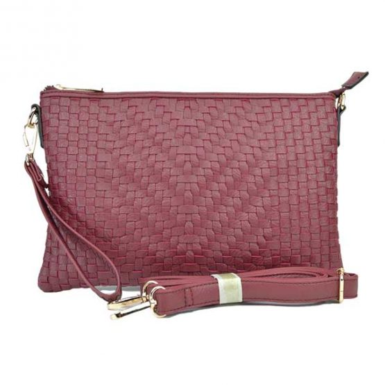 Large Mini Basketweave Crossbody, Burgundy front with crossbody strap