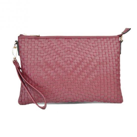 Large Mini Basketweave Crossbody, Burgundy, front view with wristlet strap