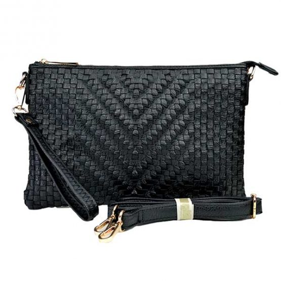 Large Mini Basketweave Crossbody, Black front with crossbody strap