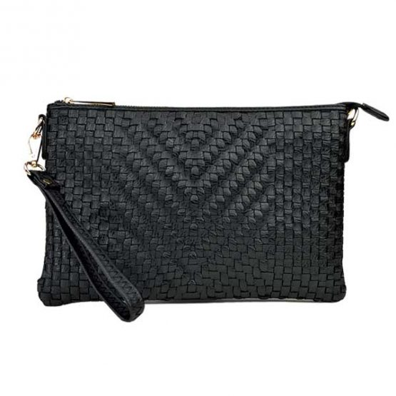 Large Mini Basketweave Crossbody, Black, front view with wristlet strap
