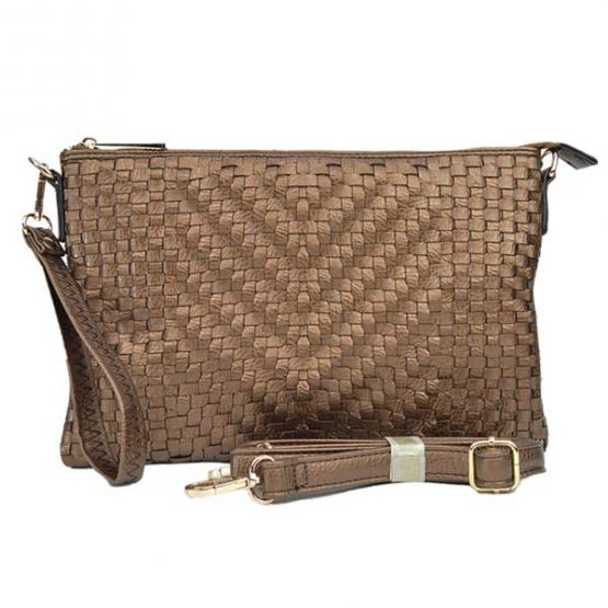 Large Mini Basketweave Crossbody, Bronze front with crossbody strap
