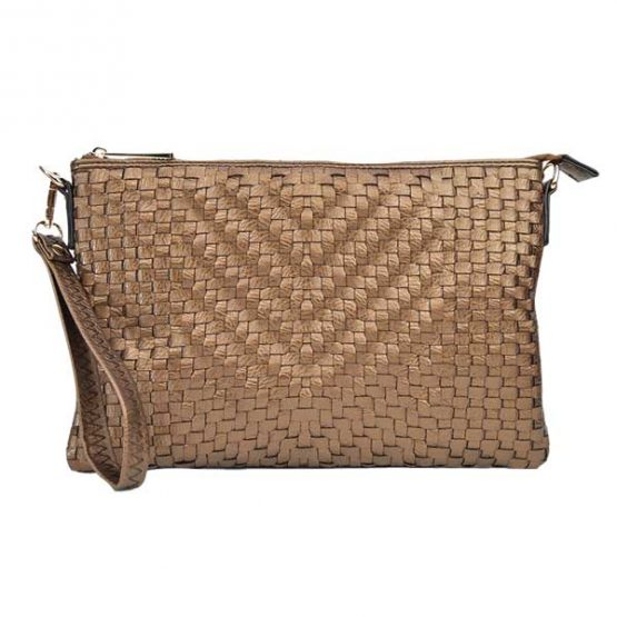 Large Mini Basketweave Crossbody, Bronze, front view with wristlet strap