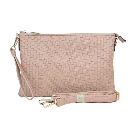 Large Mini Basketweave Crossbody, Blush front with crossbody strap