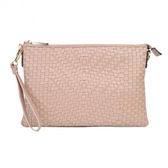 Large Mini Basketweave Crossbody, Blush, front view with wristlet strap