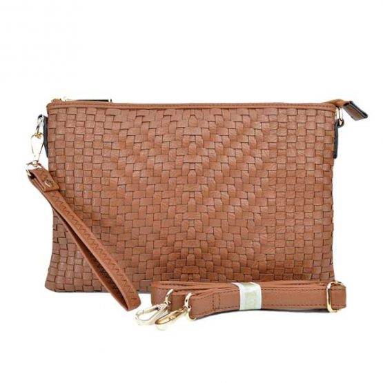 Large Mini Basketweave Crossbody, Camel front with crossbody strap