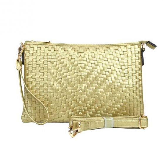 Large Mini Basketweave Crossbody, Gold front with crossbody strap