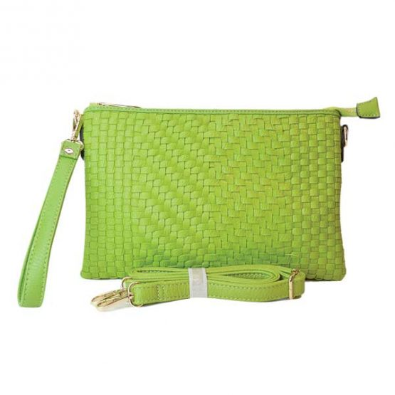 Large Mini Basketweave Crossbody, Green front with crossbody strap