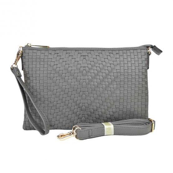 Large Mini Basketweave Crossbody, Grey front with crossbody strap