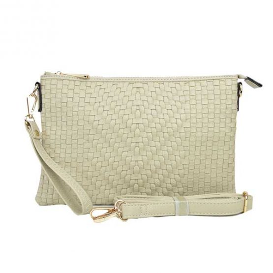 Large Mini Basketweave Crossbody, Ivory front with crossbody strap