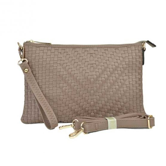 Large Mini Basketweave Crossbody, Khaki front with crossbody strap