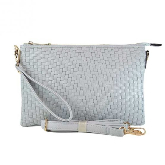 Large Mini Basketweave Crossbody, Light Grey front with crossbody strap