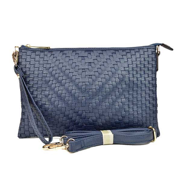 Large Mini Basketweave Crossbody, Navy front with crossbody strap