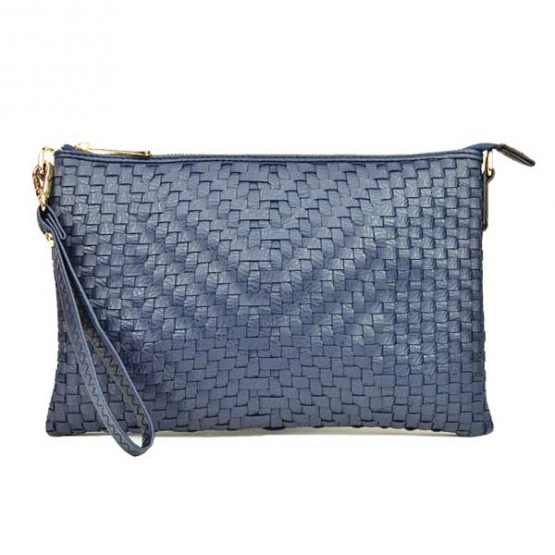 Large Mini Basketweave Crossbody, Navy, front view with wristlet strap