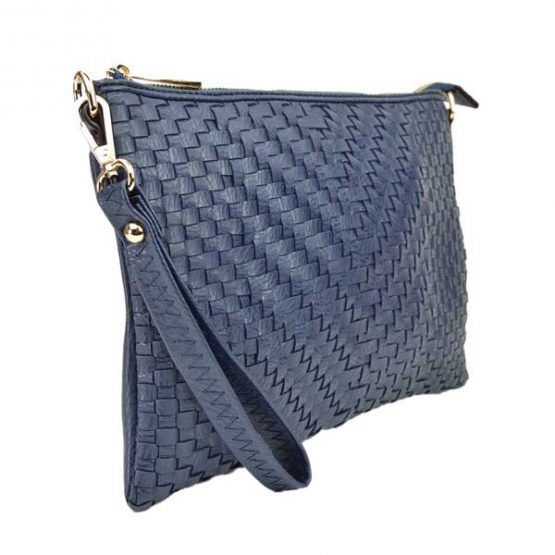 Large Mini Basketweave Crossbody, Navy, side view with wristlet strap