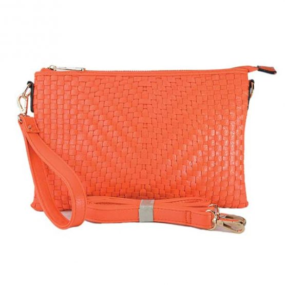 Large Mini Basketweave Crossbody, Orange front with crossbody strap