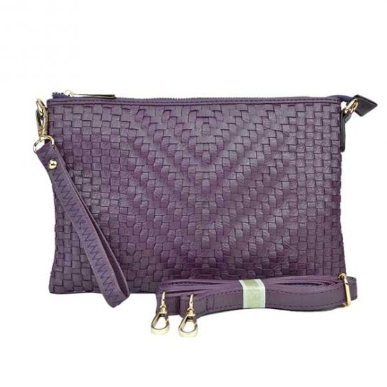 Large Mini Basketweave Crossbody, Purple front with crossbody strap