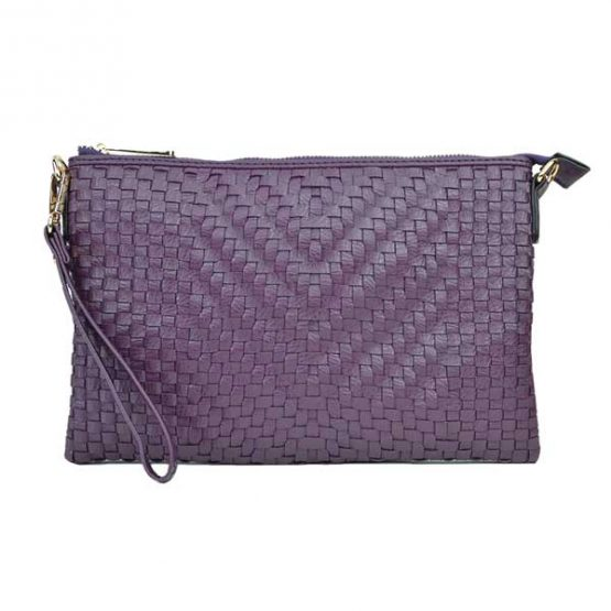 Large Mini Basketweave Crossbody, Purple, front view with wristlet strap