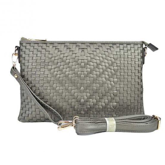 Large Mini Basketweave Crossbody, Pewter front with crossbody strap