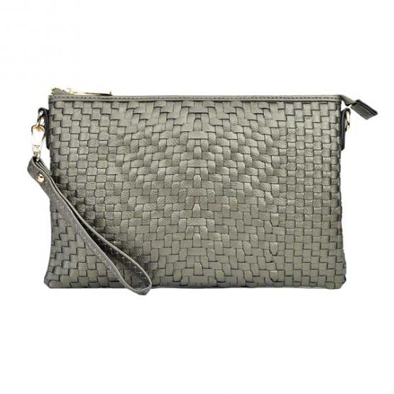 Large Mini Basketweave Crossbody, Pewter front view with wristlet strap