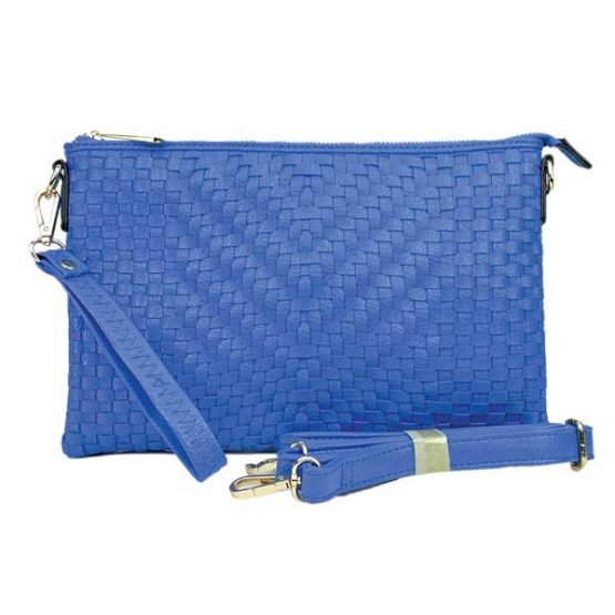 Large Mini Basketweave Crossbody, Royal Blue front with crossbody strap