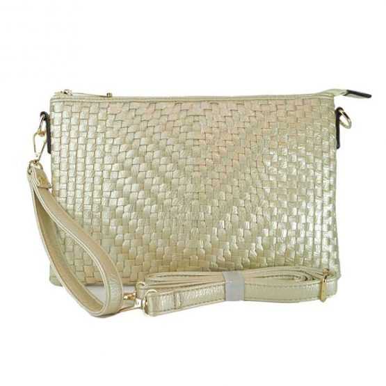 Large Mini Basketweave Crossbody, Rose Gold front with crossbody strap