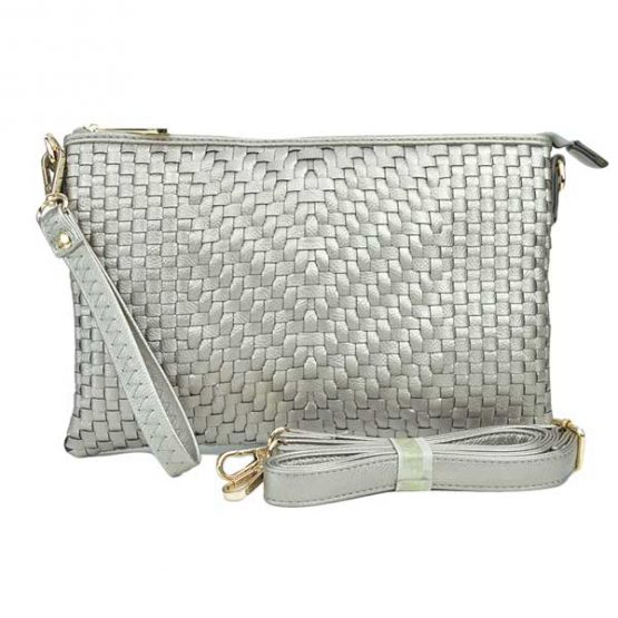 Large Mini Basketweave Crossbody, Silver front with crossbody strap