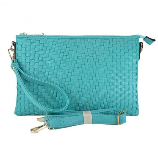 Large Mini Basketweave Crossbody, Turquoise front view with crossbody strap