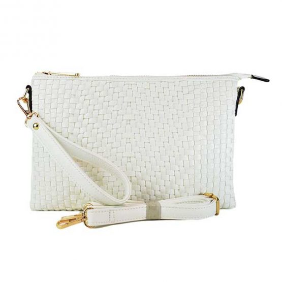 Large Mini Basketweave Crossbody White front view with crossbody strap