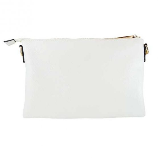 Large Woven Crossbody Clutch White back view