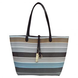 9012-28-034 Black Reversible Multi-stripe Tote