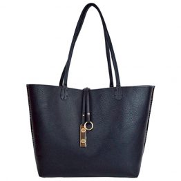 9012-28-034 Reversible Multi-stripe Tote Black reversed to solid.