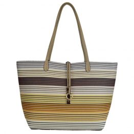 Reversible Multi-stripe Tote Light Beige