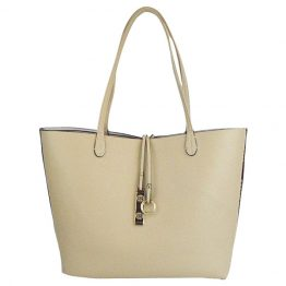 9012-28-034 Light Beige Reversible Multi-stripe Tote reversed to solid