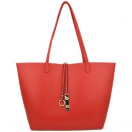 9013-034 Reversible Tote Red/Coffee