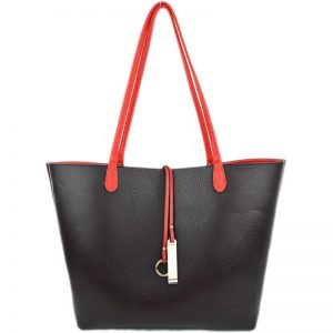 9013-034 Reversible Tote Red/Coffee reversed