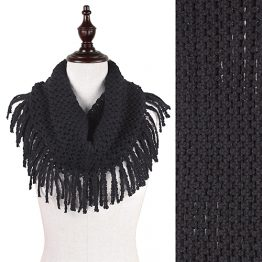 Fringe Tube Scarf Black