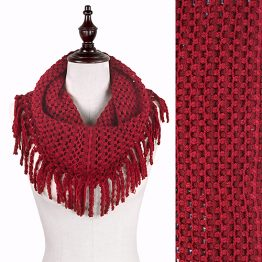7352-012 Fringe Tube Scarf Red