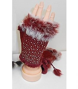 LG315-012 Fur Bling Texting Glove Burgundy